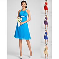Knee-length Chiffon Bridesmaid Dress - Ocean Blue / Royal Blue / Ruby / Champagne / Grape Plus Sizes / Petite A-line / PrincessStraps /