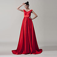 Dress A-line Off-the-shoulder Floor-length Satin Dress