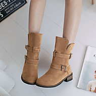 נעלי נשים - מגפיים - פליז - מעוגל / מגפי אופנה - שחור / צהוב / אפור - שמלה / קז'ואל - עקב עבה