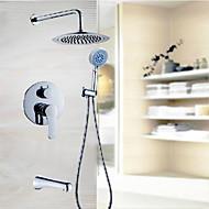 Současné Pouze sprcha Vodopád / Dešťová sprcha with  Mosazný ventil Dvěma uchy tři otvory for  Pochromovaný , Sprchová baterie