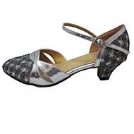 Dámské - Taneční boty - Standardní obuv - Koženka / Třpitivé flitry - Podpatek na míru - Stříbrná