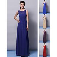 Vestito da damigella - Rosso/Uva/Royal Blue/Champagne/Indaco Tubino Decorato A Terra Chiffon