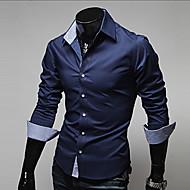Masculino Camisa Casual / Escritório / Formal Cor Solida Manga Comprida Algodão / Poliéster Preto / Azul / Vermelho / Branco