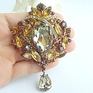 3.54 Inch Gold-tone Topaz Rhinestone Crystal Drop Flower Brooch Pendant Art Deco