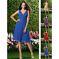 Knee-length Chiffon Bridesmaid Dress - Ruby / Grape / Royal Blue / Champagne Plus Sizes / Petite A-line V-neck