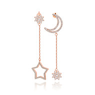 Zircon 925 silver long dangling freshwater  earring