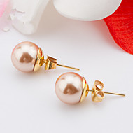 Women's Fashion More Colors Gold Plated Stainless Steel Double Imitation Pearls Earrings