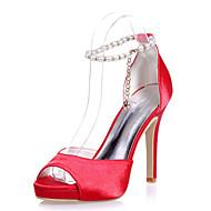 נעלי נשים - סנדלים - דמוי עור - פתוח - שחור / כחול / אדום / שנהב / לבן / כסוף - חתונה / מסיבה וערב - עקב סטילטו