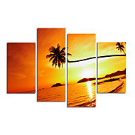 VISUAL STAR®Sunset On Sea Scenery Canvas Painting Beach Stretched Canvas Wall Art