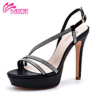 MeiRie'S Women's Shoes Patent Leather Stiletto Heel Heels/Open Toe Sandals Office & Career/Casual Black/White