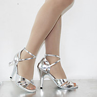 Customizable Women's Dance Shoes Latin Leatherette Stiletto Heel Silver/Chocolate