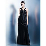 저녁 정장파티 드레스 - 블랙 시스/컬럼 바닥 길이 홀터 엘라스틱 실크같은 사틴