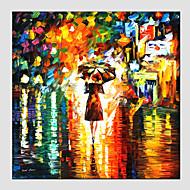 olieverfschilderijen moderne landschap regenachtige straat canvas materiaal met houten brancard klaar te hangen grootte: 70 * 70cm. .