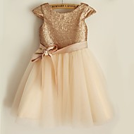 Princess Knee-length Flower Girl Dress - Sequined Short Sleeve