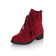 Women's Shoes Faux Suede Low Heel Fashion Boots/Comfort/Round Toe Boots Wedding/Outdoor/Dress/Casual Black/Red/Tan/Beige