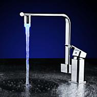 zeitgenössische rgb Chrom eine Klasse abs 3 Farben LED-Temperaturregelung M24 * 1mm Wasserhahn Sprühdüse - Silber