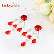 Special Full Drop Round Fire Red Quartz Gem Prong Setting 925 Silver Earring Drop Earrings For Wedding Party Daily 1pair