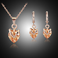 May Polly  European and American fashion Crystal Diamond Heart Necklace Earrings Set