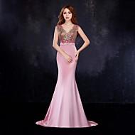 Formal Evening Dress - Blushing Pink Trumpet/Mermaid V-neck Floor-length Satin