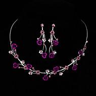 AAA Zircon Gem Rose Flower Shape Necklace & Earrings Jewelry Set