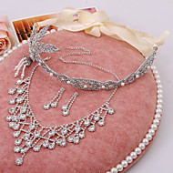 2015 The new bride bow sweater chain necklace earring rhinestone tiara crown three-pieceBY-SET0003