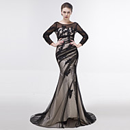 Dress - Color Block Trumpet / Mermaid Scoop Sweep / Brush Train Tulle with Appliques Side Draping