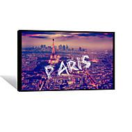VISUAL STAR®Night Paris Frameless Canvas Print Ready to Hang City Wall Art