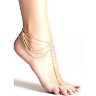 Mode Frauen Kristall Perlen-Kette Quaste mehrschichtigen Fußkettchen Strand Schmuck