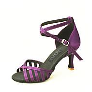 Customizable Women's Dance Shoes Satin Satin Latin / Salsa Sandals Customized Heel Indoor Black / Blue / Yellow / Purple / Red