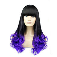 The European and American Fashion Curly Hair Wig Caps Imported High Temperature Wire. Purple To Black Gradient