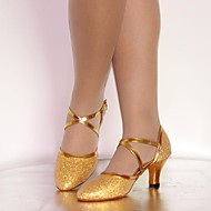 Customizable Women's Dance Shoes Latin/Standard Shoes Leatherette/Paillette Customized Heel Silver/Gold