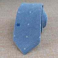 Gravatas ( Azul , Algodão ) Estampado