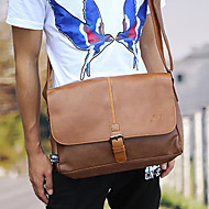 Men 's PU Messenger Shoulder Bag - Brown/Black