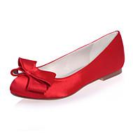 플랫 - 웨딩 / 파티/이브닝 - 여성의 신발 - 둥근 앞코 - 새틴 - 플랫 - 블랙 / 블루 / 핑크 / 레드 / 아이보리 / 화이트 / 실버