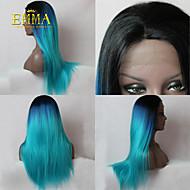2015 nye ombre paryk sort til blå romantisk lang straight paryk naturlige bløde remy hånd bundet blonder foran paryk emma