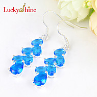 Luckyshine Uniquie Drop Full Fire Blue Sky Topaz Gem Prong Setting Drop Earrings For Wedding Party Daily 1pair