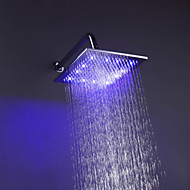 10 Inch Contemporary Durable Chromed Brass Square LED RGB Rain Shower Head - Silver