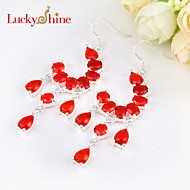 Luckyshine Special Full Drop Fire Red Quartz Gem Prong Setting 925 Silver Drop Earrings For Wedding Party Daily 1pair