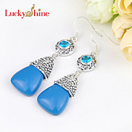 Luckyshine Special Drop Vintage Fire Blue Turquoise Gem Prong Setting Drop Earrings For Wedding Party Daily 1pair