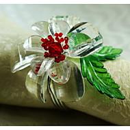 טבעת פרח קריסטל מפית קישוט, אקריליק, 1.77inch, קבוצה של 12