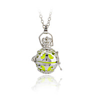 Mexico Bola Pendant Cage Necklace Long Chian for Pregnancy(Fn1783-Fluorescence Green)