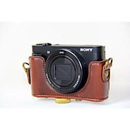 dengpin pu bolsa de cuero caja de la cámara cubierta con correa para el hombro para Sony DSC-HX90 hx90v wx500 (colores surtidos)