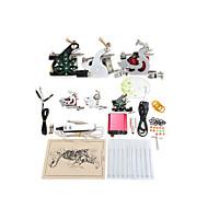 Tattoo Machine Complete Kit Set 3 Guns Machines 10PCS tattoo ink Tattoo kits
