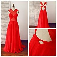 Formal Evening Dress A-line V-neck Floor-length Chiffon