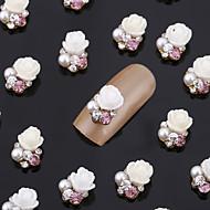 New 20PCS Nail Art Jewelry Pinkie Rose Nail Decorations Alloy Rhinestone Aryclic Nails Nail Tips Decorations