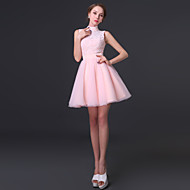 Cocktail Party Dress - Blushing Pink A-line High Neck Short/Mini Chiffon / Lace