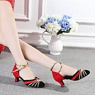 Non Přizpůsobitelné - Dámské - Taneční boty - Latina - Semišování - Masivní podpatek - Červená