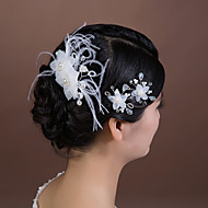 Women's Crystal/Tulle/Imitation Pearl Headpiece - Wedding/Special Occasion Hair Pin 3 Pieces
