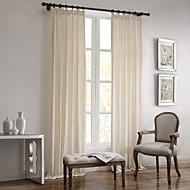 zwei Panele Rustikal / Modern / Mediterran / Europäisch / Designer Solid Weiß Wohnzimmer Leinen  /  BaumwollmischungFlächenvorhänge