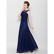 Lanting Bride® Sheath / Column Plus Size / Petite Mother of the Bride Dress - See Through Floor-length Sleeveless Chiffon withAppliques /
